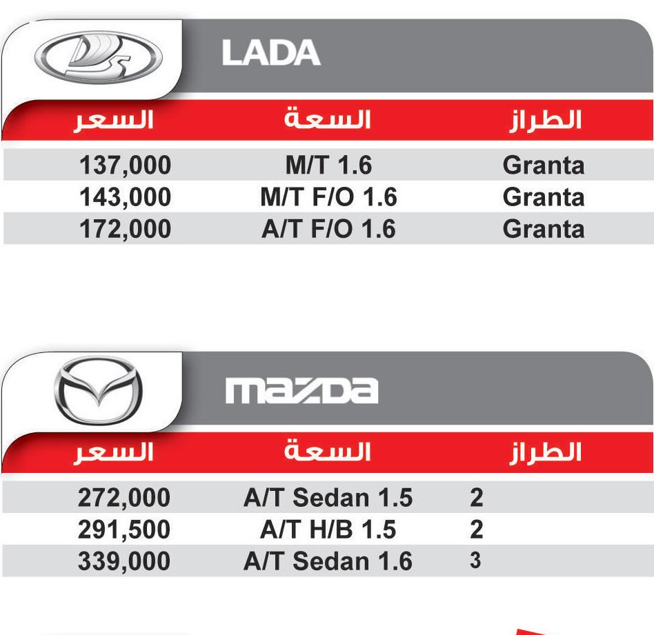 اسعار السيارات موديلات لادا ومازدا 2017-2018