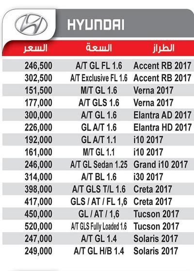 اسعار السيارات موديلات هيونداى2017-2018