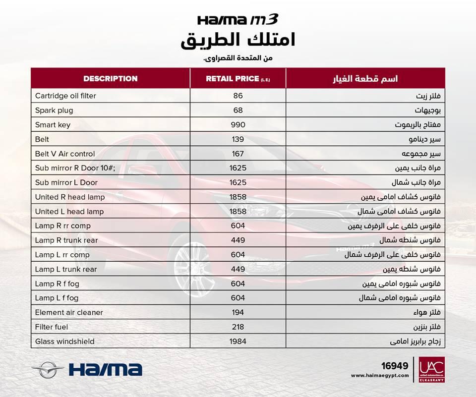 اسعار قطع غيار هايما2017