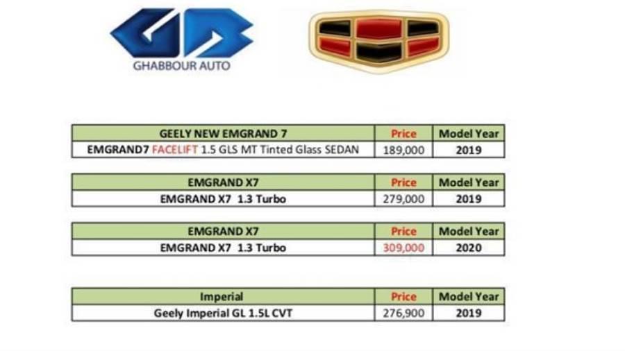 سعر جيلي ايمجراند X7 الجديدة 2020